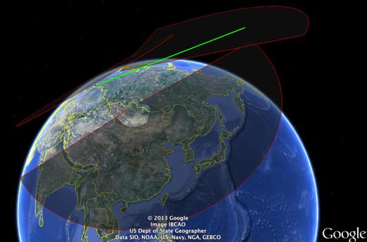 Trayectoria del meteoroide